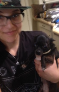 Tyrion Today- he is a tiny Chihuahua. With my daughter, Alyssa